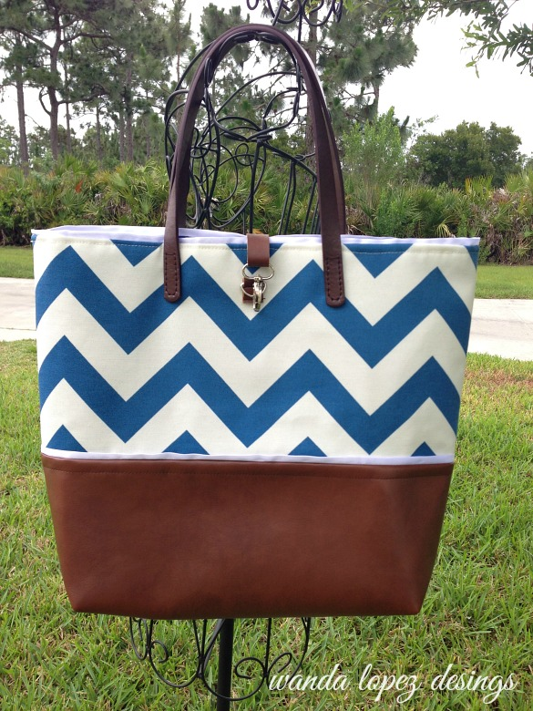 Nautical-Chevron-and-Leather-Tote-WLDesigns-on-a-stand